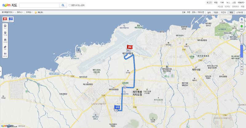 To reach Shinjeju, head westward from the airport